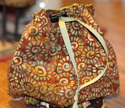 Brown batik sock bag